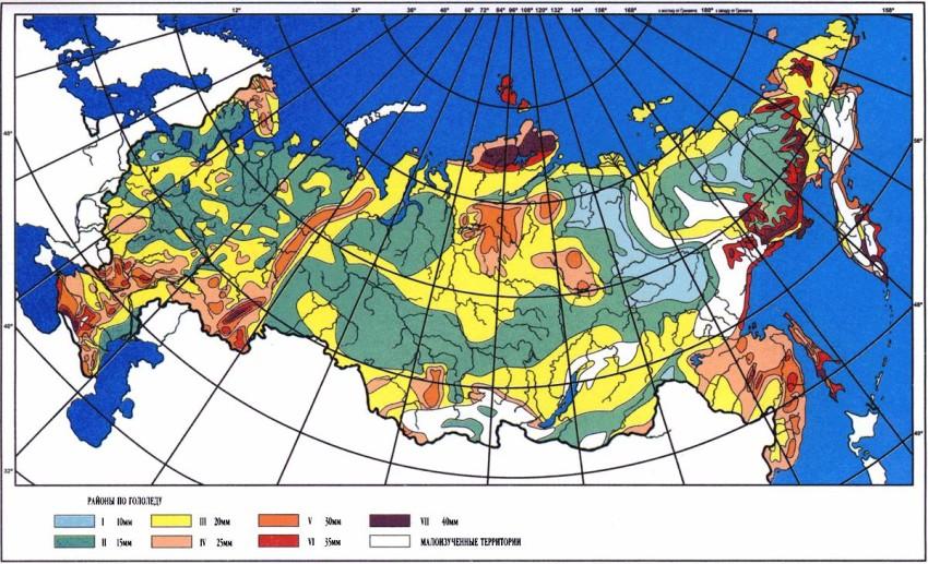 Фрагмент карты районирования по гололедным нагрузкам
