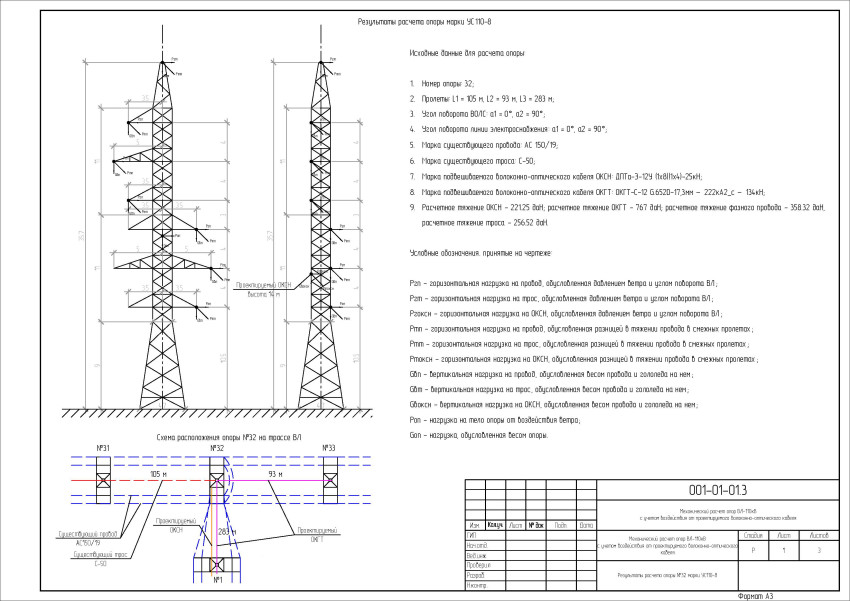 Эскиз опоры УС110-8