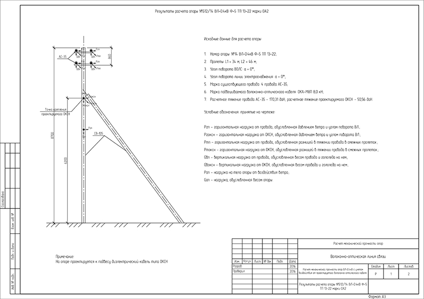 Пример эскиза опоры с неизолированными проводами